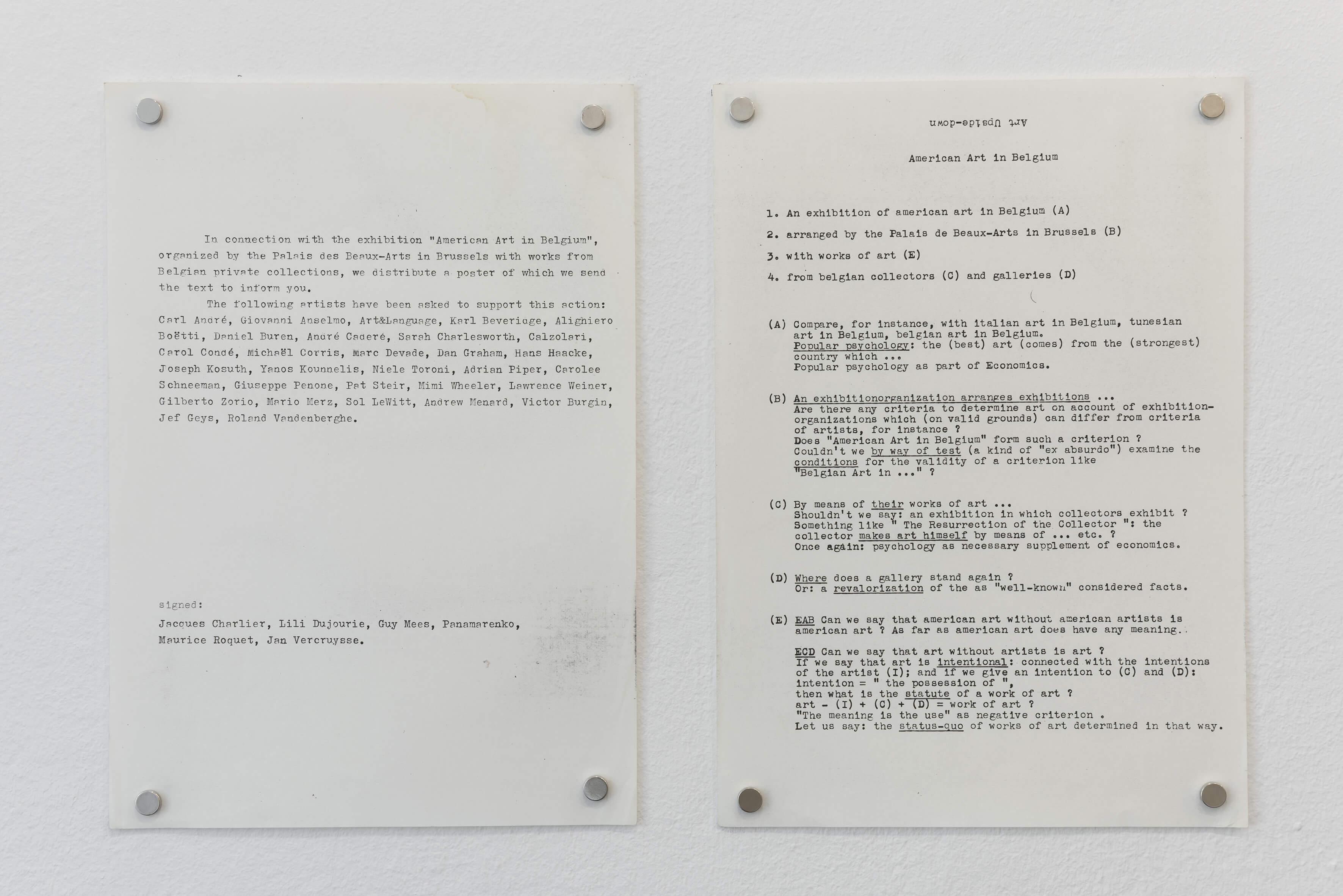 L'Art a l'Envers. De Kunst Omgekeerd. American Art in Belgium, 1977 | Espace Perdu_Chapter 1 | ProjecteSD