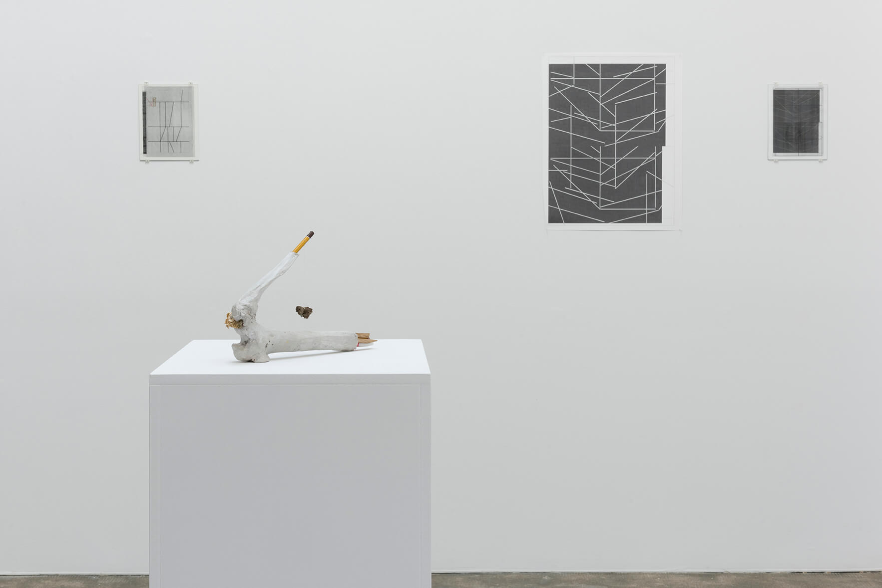 Installation view: A Drawing Placed Between Two Objects, ProjecteSD | A Drawing Placed Between Two Objects (with Mark Manders) | ProjecteSD