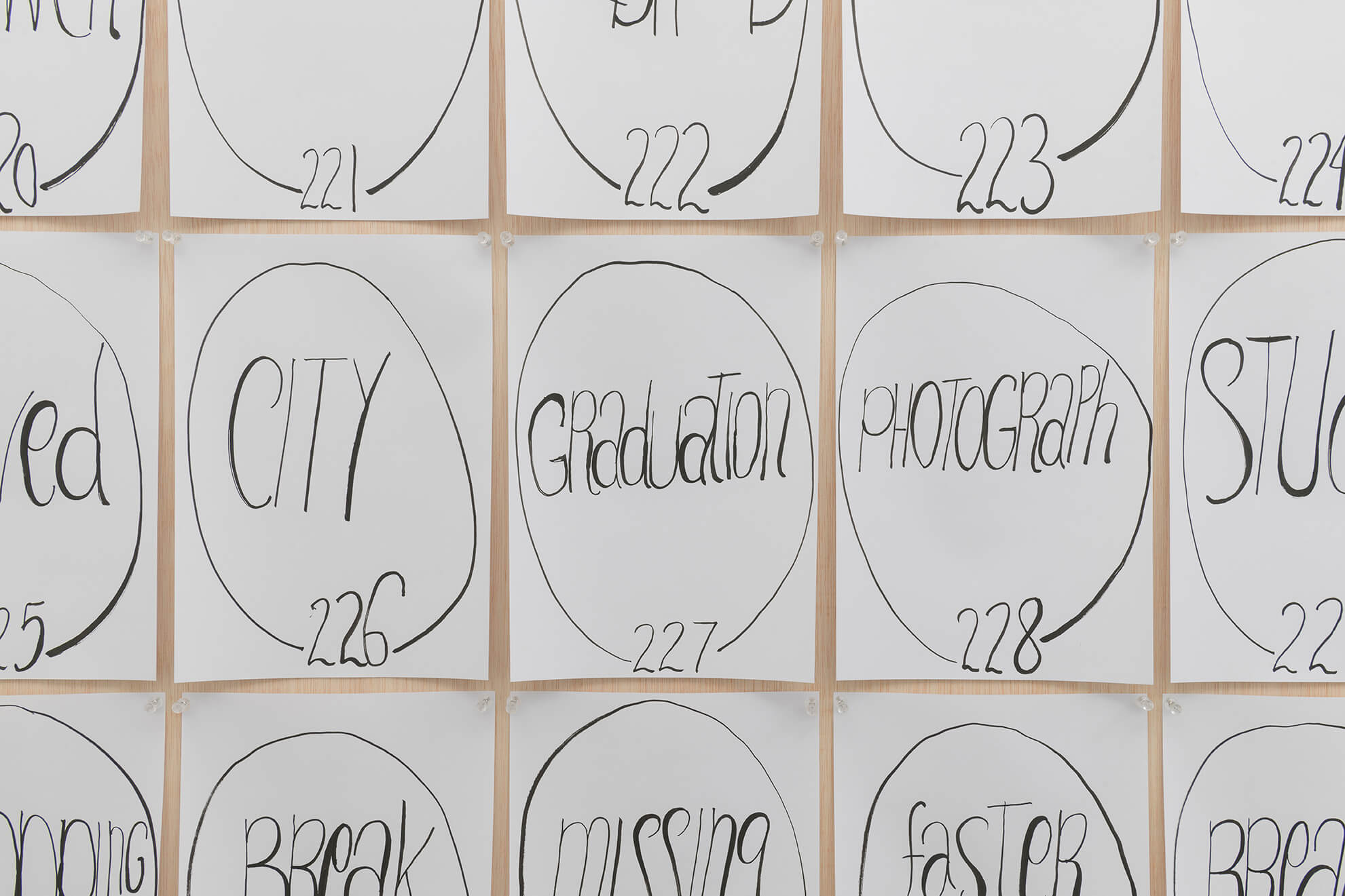 Untitled (269 words from the birth to death list), 2018 (Detail)   Representing The Work   ProjecteSD