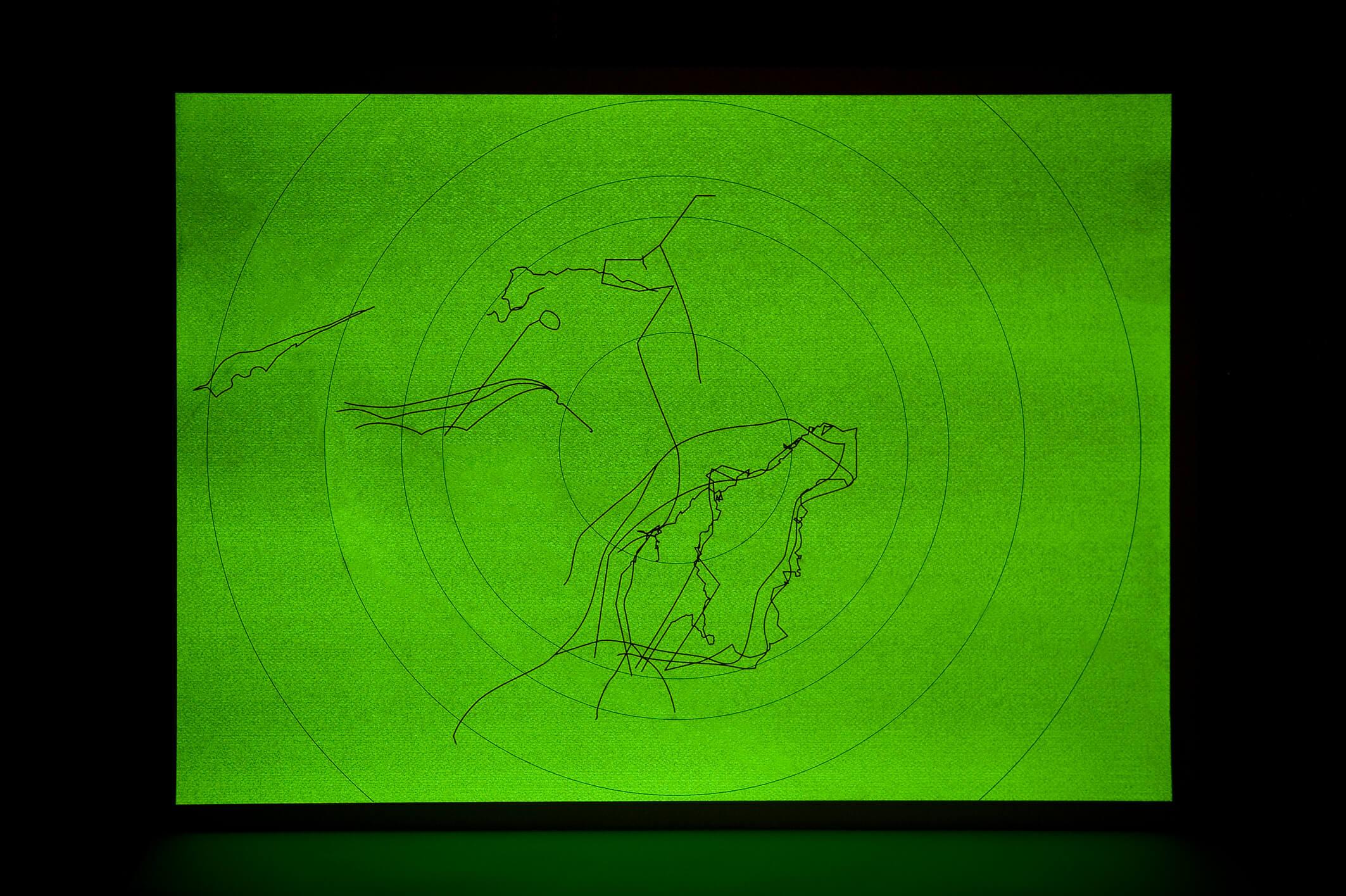 La idea del Norte: Rutas, 2014 (view of t he work in darkness) | La idea del Norte | ProjecteSD
