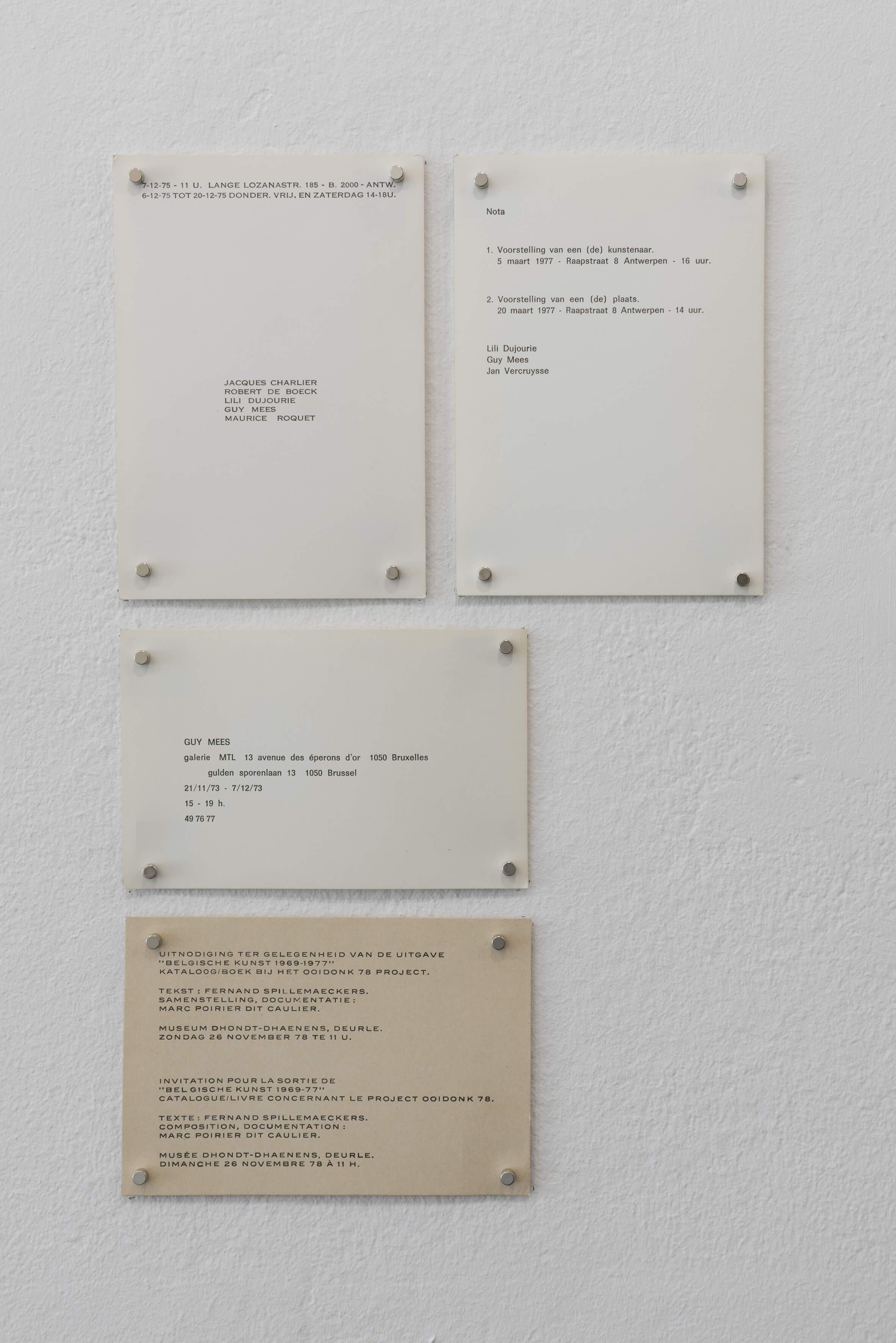 Invitation cards, 1973 – 1977 | Espace Perdu_Chapter 1 | ProjecteSD
