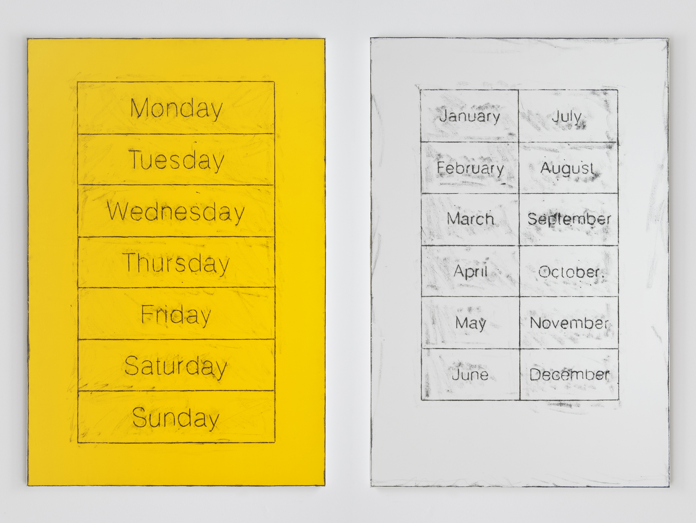 Left: Untitled (Days of the Week), 2014. Right: Untitled (Months of the Year), 2014 |  | ProjecteSD
