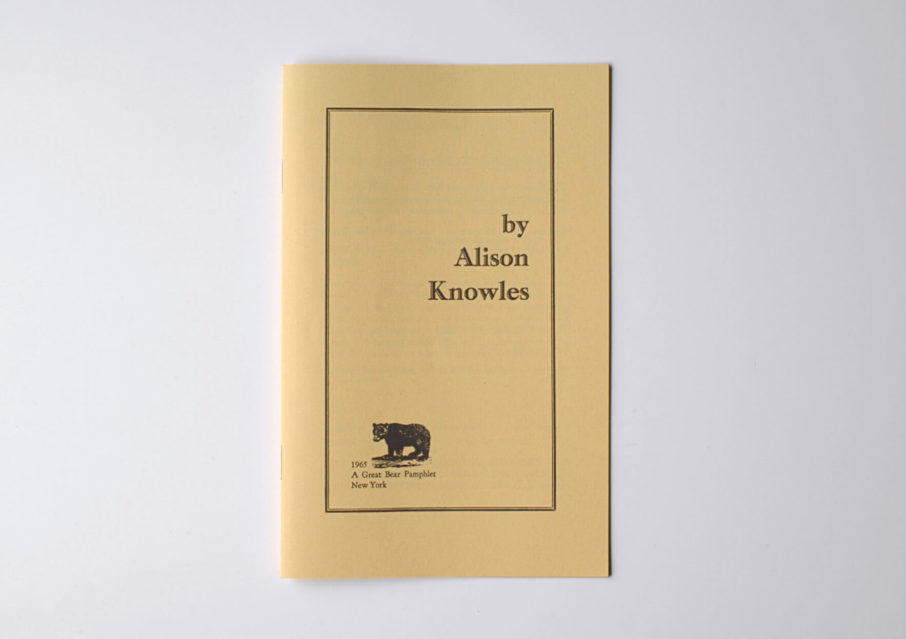 Alison Knowles Uncollected Texts, 2007 20 x 12 cm, 16 p. Ed. Primary Information | Mother | ProjecteSD