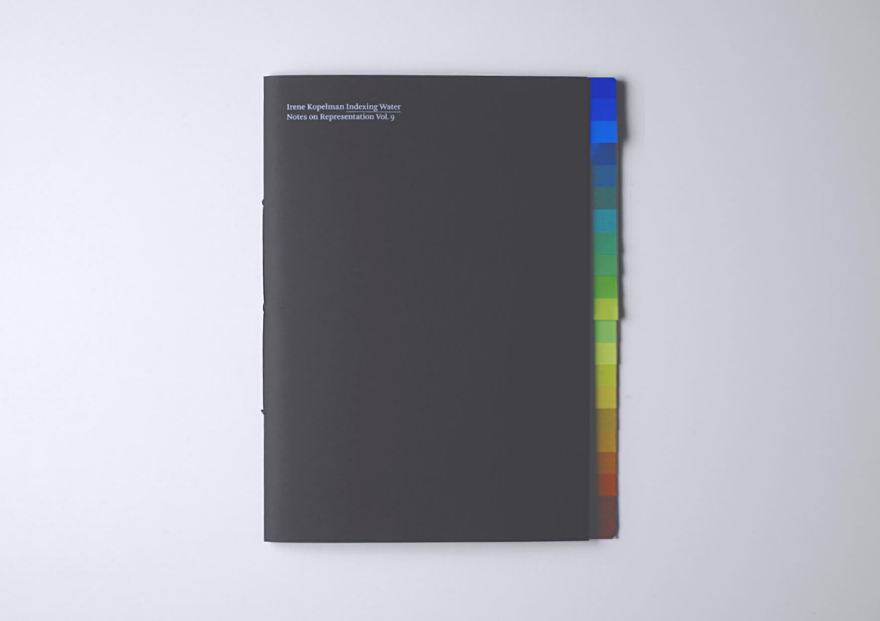 Irene Kopelman Indexing Water. Notes on Representation V.9, 2018 28 x 21 cm, 68 p. Texts in English. Ed. Roma Publications | Mother | ProjecteSD