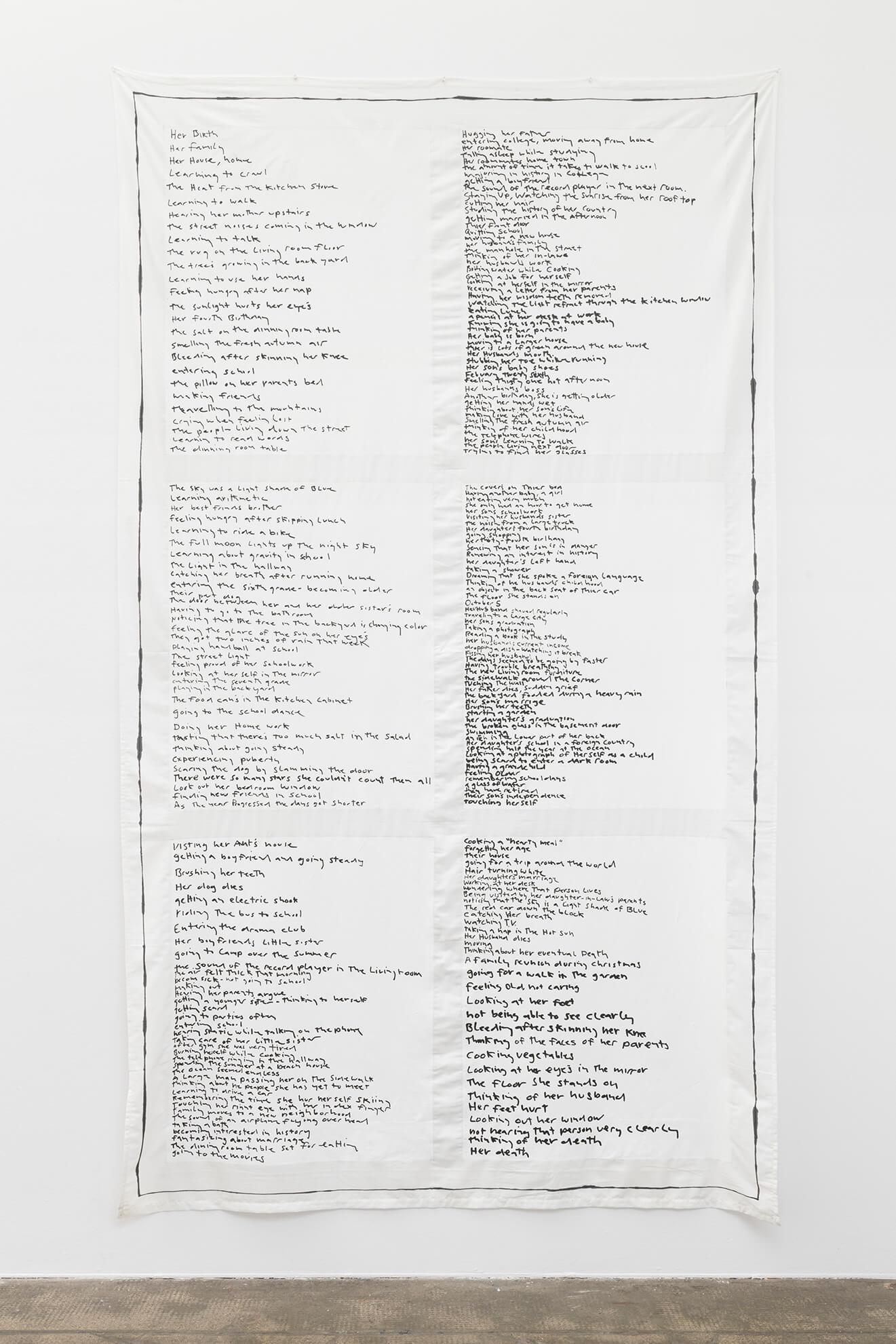 MATT MULLICAN. Untitled (Birth to death list), 2018 | Ella té molts noms / Ella tiene muchos nombres / She has many names | ProjecteSD