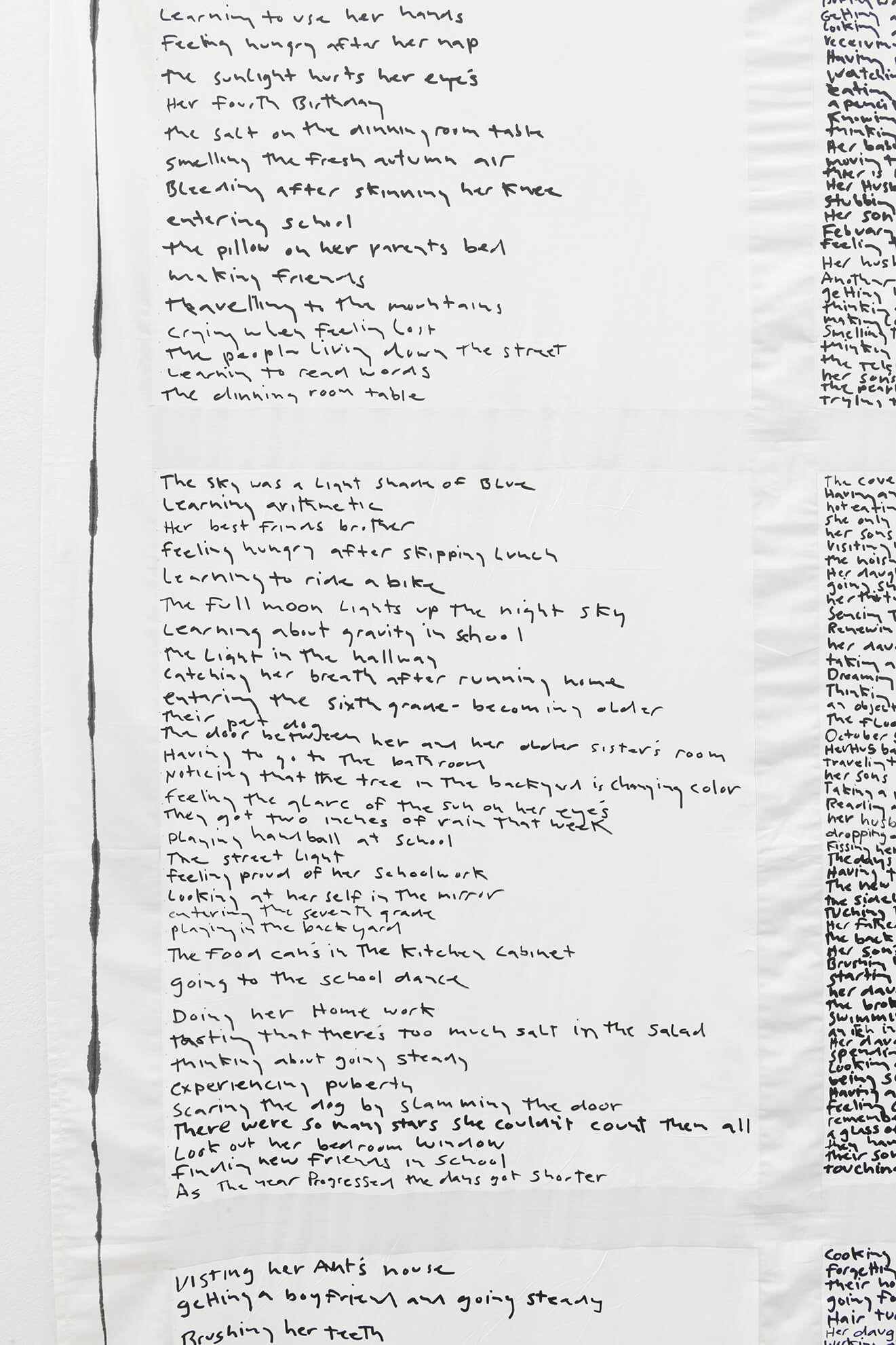 MATT MULLICAN. Untitled (Birth to death list), 2018. (Detail) | Ella té molts noms / Ella tiene muchos nombres / She has many names | ProjecteSD
