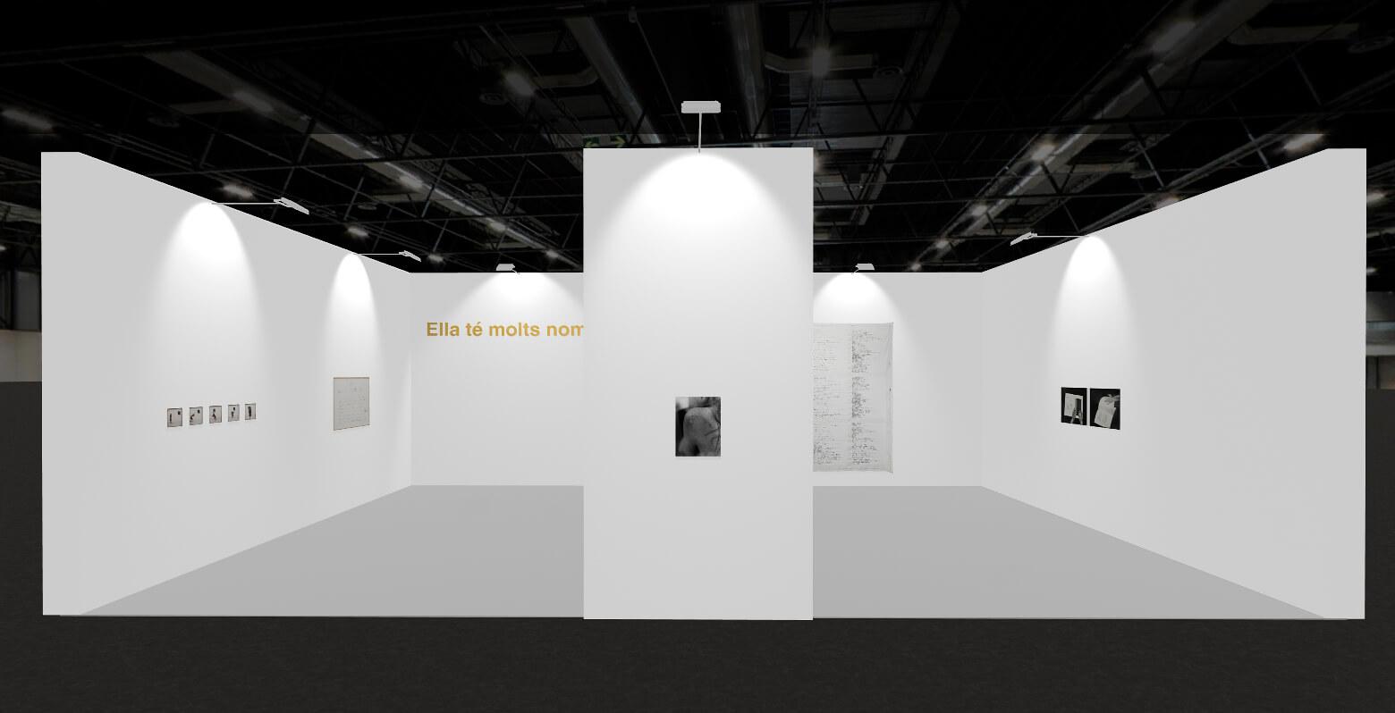 View of virtual 3D booth, ProjecteSD, 2021 | E-ARCO EXHIBITIONS. PRESENTATION # 1: SHE HAS MANY NAMES | ProjecteSD