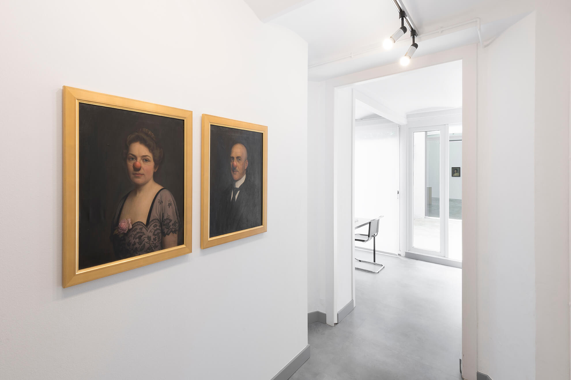 Installation view: Man and woman with red nose, n.d. | Another Art Exhibition | ProjecteSD